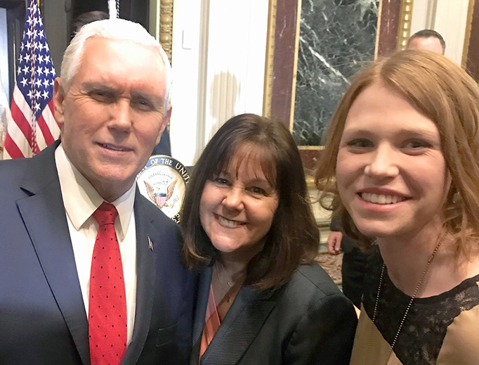 Katrina Gallic at with Vice President Pence and Mrs. Pence before the 2018 March for Life