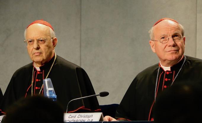 Cardinals Lorenzo Baldisseri and Christoph Schönborn at a Vatican press conference to mark the publication of Amoris Laetitia, April 8, 2016