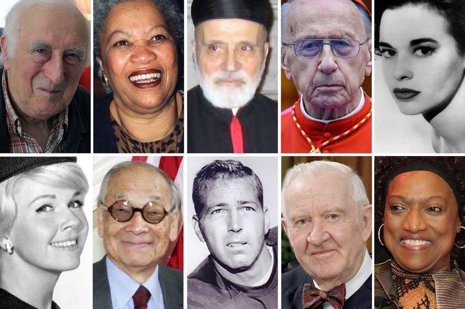 TOP ROW, L TO R: (1) Jean Vanier, Canadian philosopher, theologian and humanitarian, founder of L'Arche; (2) Toni Morrison, author and Nobel laureate; (3) Cardinal Nasrallah Boutros Sfeir, patriarch of Antioch; (4) Cardinal Roger Etchegaray, of France; (5) Gloria Vanderbilt, socialite and fashion designer. BOTTOM ROW, L TO R: (1) Doris Day, actress and singer; (2) I.M. Pei, Chinese-born American architect; (3) Bart Starr, Hall of Fame football player (Green Bay Packers) and coach, Super Bowl MVP (1967, 1968); (4) John Paul Stevens, associate justice of the Supreme Court (1975-2010); (5) Jessye Norman, opera singer.