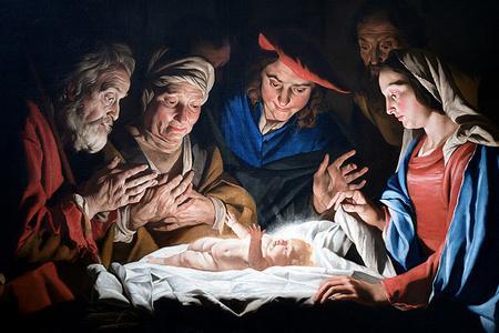 """Matthias Stomer (1600-1650), """"Adoration of the Shepherds"""""""