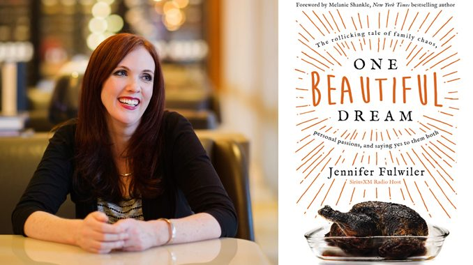 """Author Jennifer Fulwiler & the cover of her second book, """"One Beautiful Dream"""""""