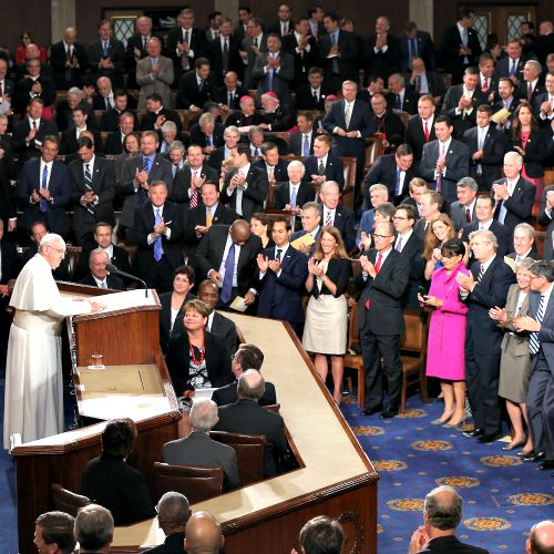 Pope Francis addresses members of Congress during a joint meeting in the House Chamber of the U.S. Capitol on Sept. 24.