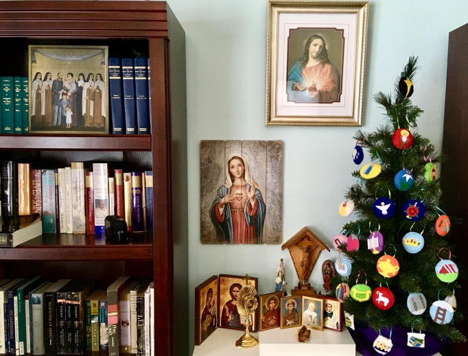 The Spencer family's Jesse tree and Advent wreath are seasonal staples.