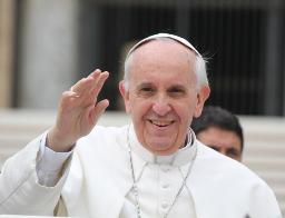 Pope Francis greets the crowd at his Wednesday audience on May 15.