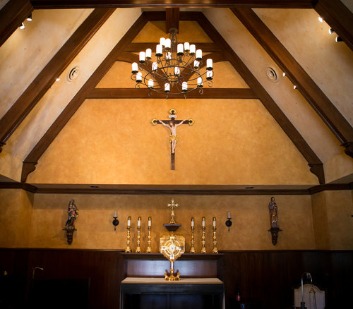 Above, Our Lady of Grapes Chapel at Meritage (also shown during Napa Institute Mass, with filled pews); the altar and sanctuary of St. Francis Chapel at the Bacara; and Timothy Busch, L.A. Archbishop Jose Gomez (c) and three priests at the Bacara chapel.