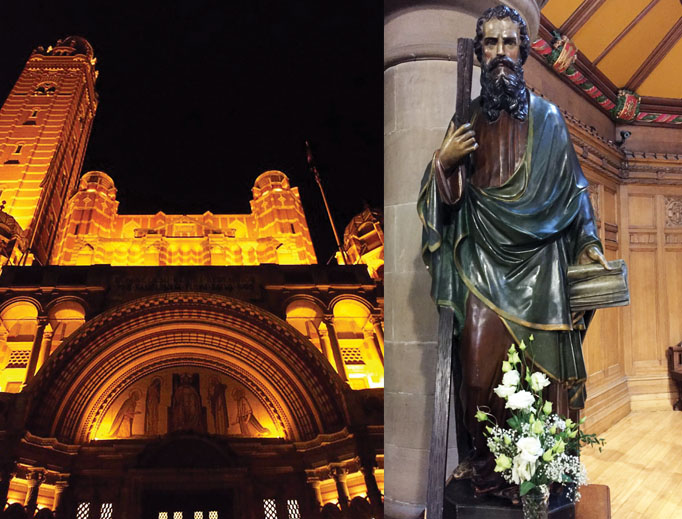 The exterior of London's Westminster Cathedral is lit up at night and a St. Andrew statue adorns an altar at St. Mary's Cathedral in Edinburgh, Scotland.