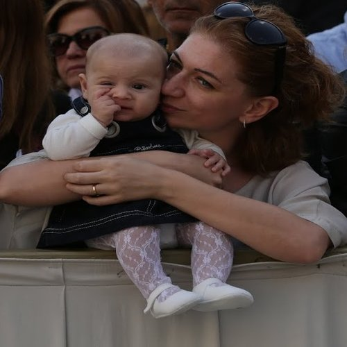 A baby and mother at the Wednesday general audience in St. Peter's Square on Oct. 7, 2015.