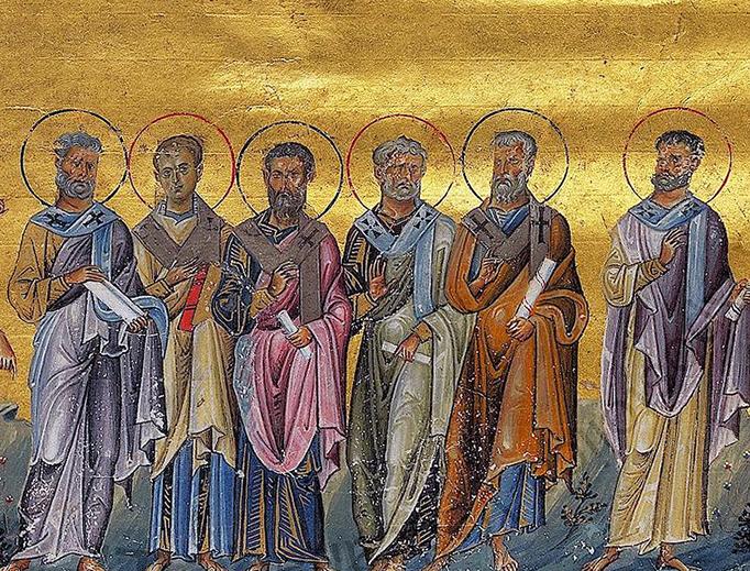 Apollo, Cephas, Tychicus, Epaphroditus, Cæsar and Onesiphorus (Menologion of Basil II)