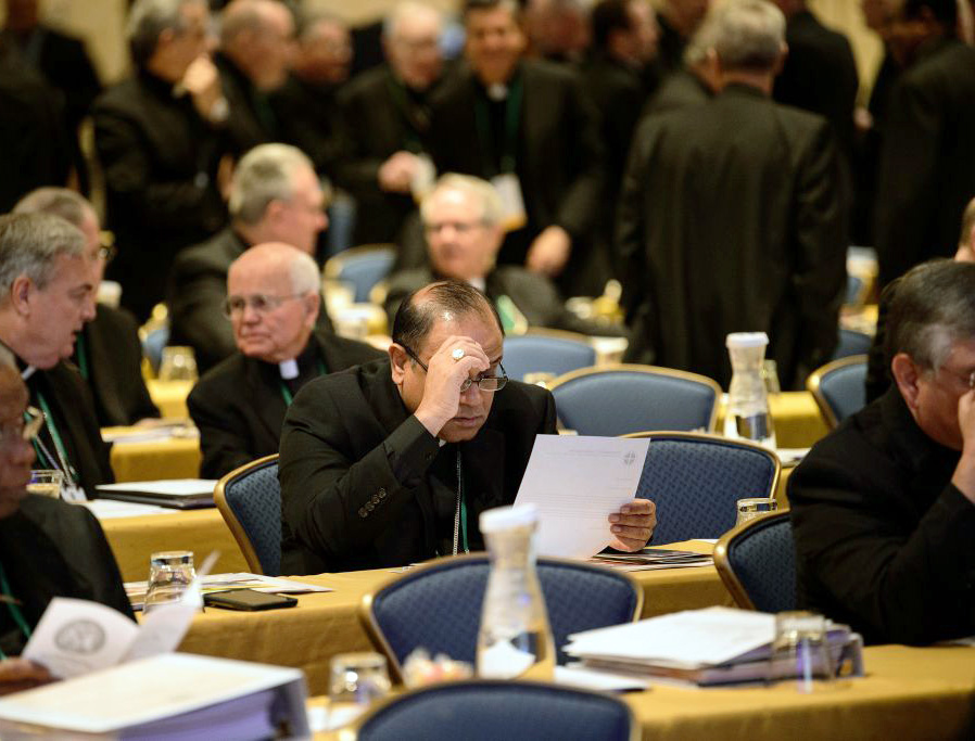 Bishops gather for an opening session during the annual US Conference of Catholic Bishops fall meeting, Nov. 12, 2018, in Baltimore, Maryland.