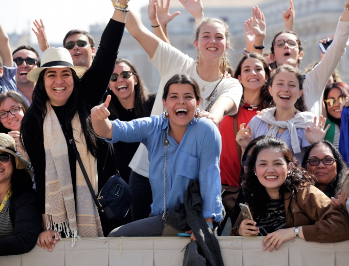Young pilgrims at the general audience in St. Peter's Square April 12, 2017.