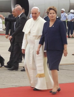 Pope Francis walks with President Dilma Rousseff of Brazil immediately after disembarking in Rio de Janeiro July 22 to commence his World Youth Day visit.