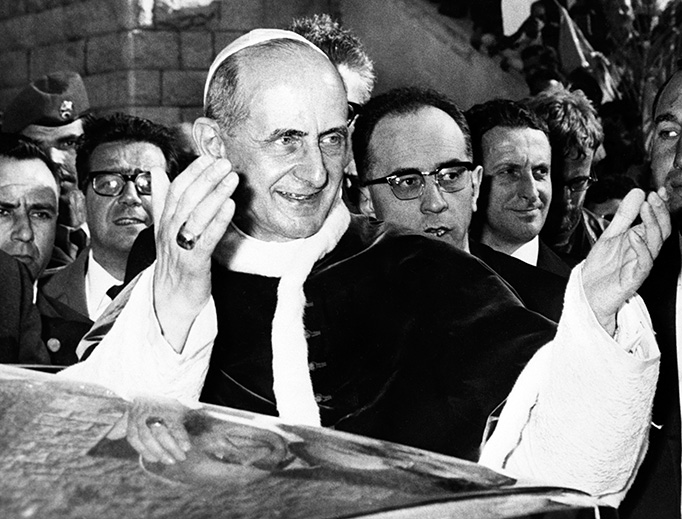 Pope Paul VI leaves the Basilica of the Annunciation in Nazareth after celebrating Mass on Jan. 5, 1964.