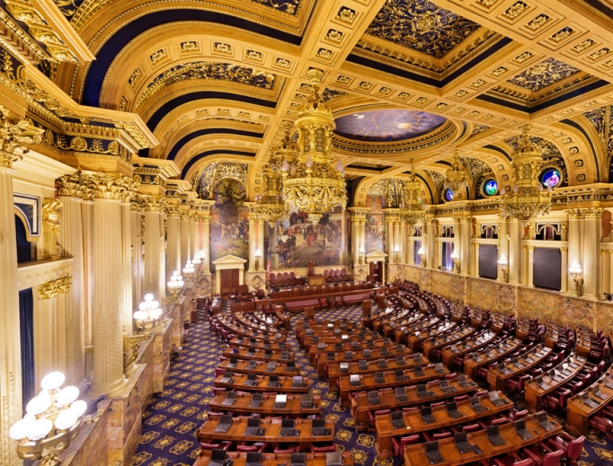 The Pennsylvania House of Representatives, chamber shown in the Pennsylvania State Capitol, passed a statute-of-limitations reform bill on Sept. 25 that extends the time limit for civil claims on sexual abuse to 50 years old, up from 30. The bill also eliminates the statute of limitations for criminal cases.