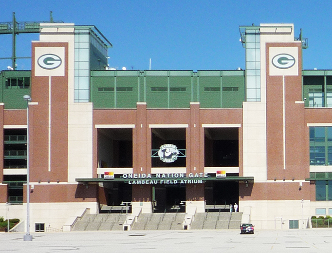 Lambeau Field, home of the Green Bay Packers, is shown in Green Bay, Wisconsin.