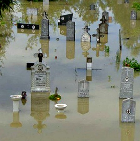 A flooded cemetery in the Archdiocese of Vhrbosna in Sarajevo