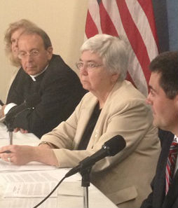 From the religious-freedom press conference, July 2. From l to r: Anne Hendershott, Archbishop William Lori, Sister Mary Ann Walsh of the USCCB, Russell Moore and Yui Mantilla.