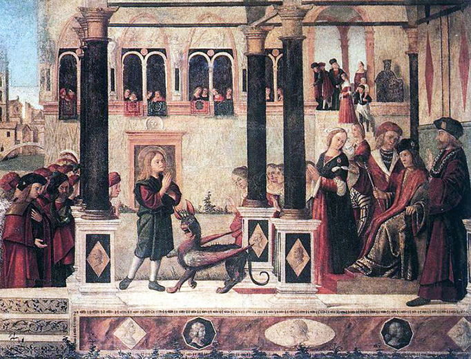 """Vittore Carpaccio, """"The Daughter of of Emperor Gordian is Exorcised by St. Triphun"""", 1507"""
