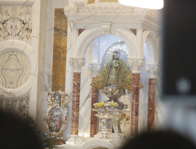 The statue of the Virgin El Cobre, patroness of Cuba, at the Basilica-Shrine of Our Lady of Charity of El Cobre in Santiago de Cuba on Sept. 22, 2015, during Pope Francis' four-day apostolic journey to Cuba.