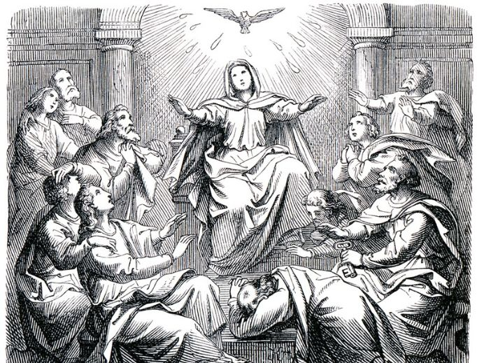 Old engraving of Pentecost from the book History of the Christian Religion, 1880