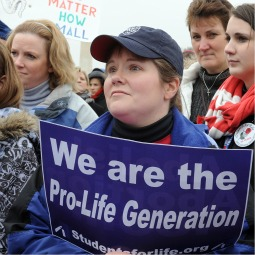 Judy Machesic of Sunbury, Pa., listens intently during the annual March for Life rally on the National Mall in Washington last Jan. 22.