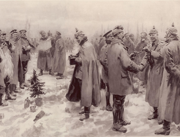 The Illustrated London News' illustration of the 'Christmas Truce': Officers and men from the German and British trenches meet and greet one another — a German officer photographing a group of foes and friends.