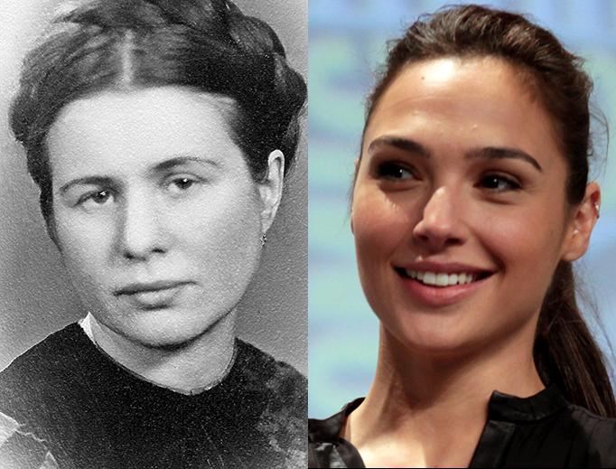 Irena Sendler, left, and Gal Gadot