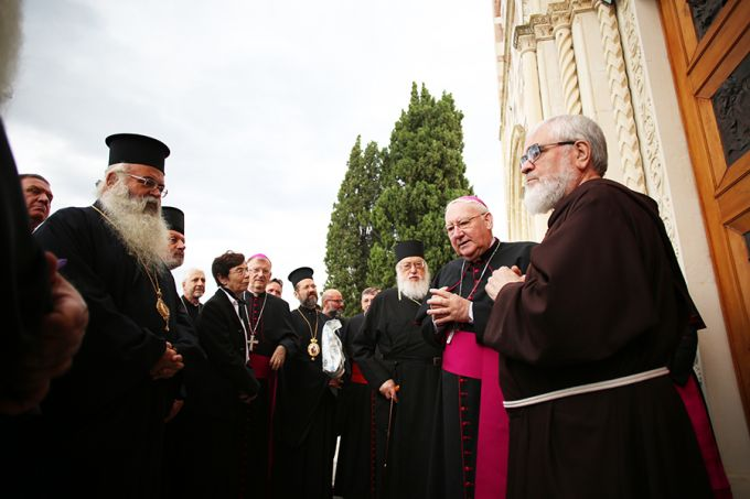 Members of the commission for dialogue between the Orthodox and Catholic Churches outside the shrine of the Holy Face in Manoppello, Italy, on Sept. 18.