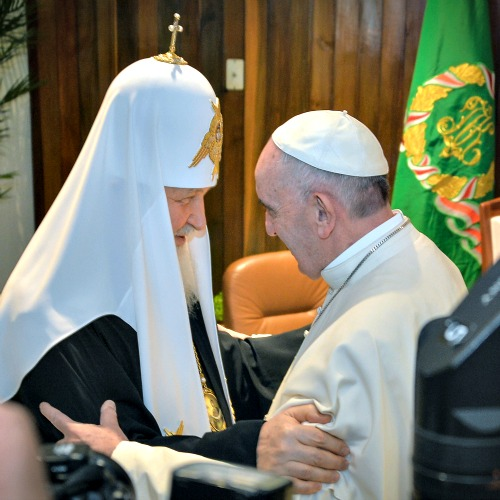 The head of the Russian Orthodox Church, Patriarch Kirill, and Pope Francis greet each other as as they meet at the Jose Marti airport in Havana, Cuba, on Feb. 12. This is the first-ever papal meeting with the head of the Russian Orthodox Church, a historic development in the 1,000-year schism within Eastern and Western Catholicism.