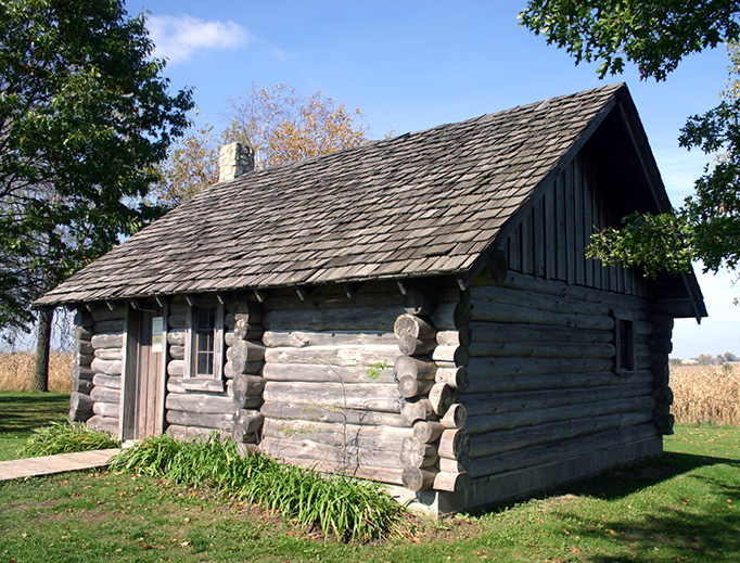 Replica of Laura Ingalls Wilder's house near Pepin, Wisconsin, where Little House in the Big Woods was set.