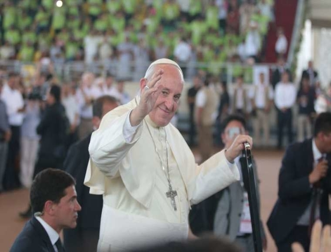 Pope Francis arrives in Puerto Maldonado for an encounter with Peru's indigenous Amazonian communities Jan. 19.