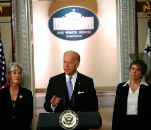 Vice President Joseph Biden speaks on health care as Secretary of Health and Human Services Kathleen Sebelius (l) and Sister Carol Keehan, president and CEO of the Catholic Health Association of the United States (r) listen at the Eisenhower Executive Office Building of the White House July 8, 2009.