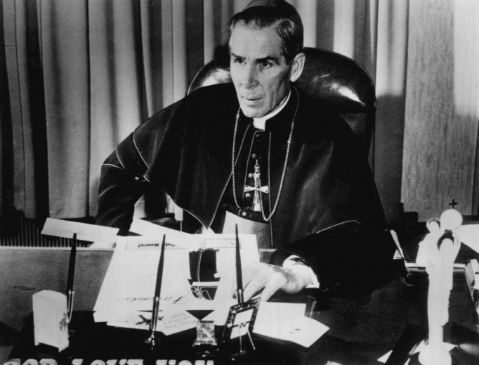 Bishop Fulton J. Sheen on TV show in 1956