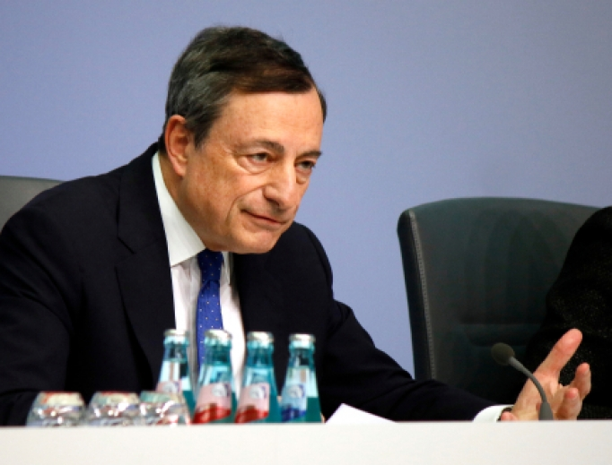 President of the European Central Bank, Mario Draghi, at a press conference at the ECB headquarters in Frankfurt on March 9, 2017.