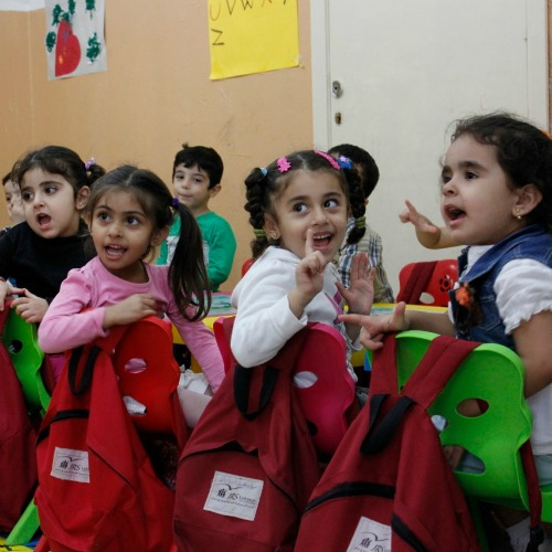Syrian and Iraqi refugee children benefit from an accelerated learning program offered by Jesuit Refugee Service (JRS) at the Frans van der Lugt Center, named for the Dutch Jesuit priest who was murdered in Syria in April 2014.
