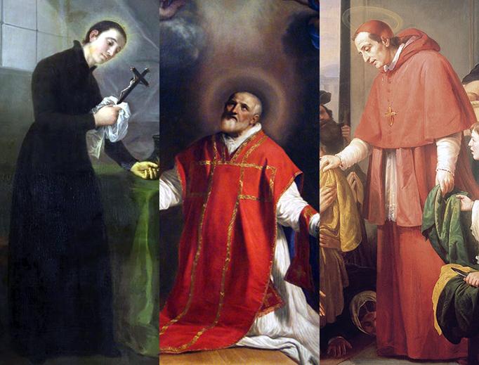 "LEFT TO RIGHT: Francisco de Goya, ""San Luis Gonzaga"", c. 1798; Guercino, ""Saint Philip Neri"", 1656; José Salomé Pina, ""Charles Borromeo Handing out Alms to the People"", 1853."