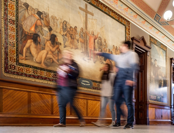 Murals depicting Christopher Columbus' voyages to the Americas in the ceremonial entrance to the Main Building at the University of Notre Dame.