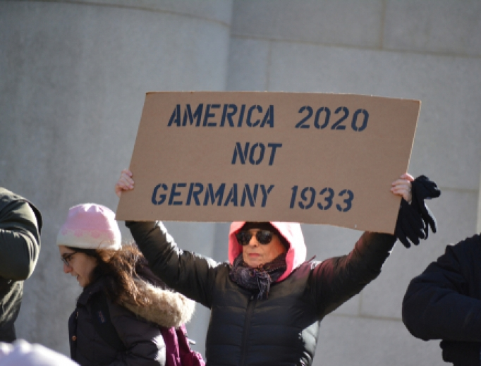 People marching from Manhattan to Brooklyn against the rise in antisemitism in New York, January 5, 2020.