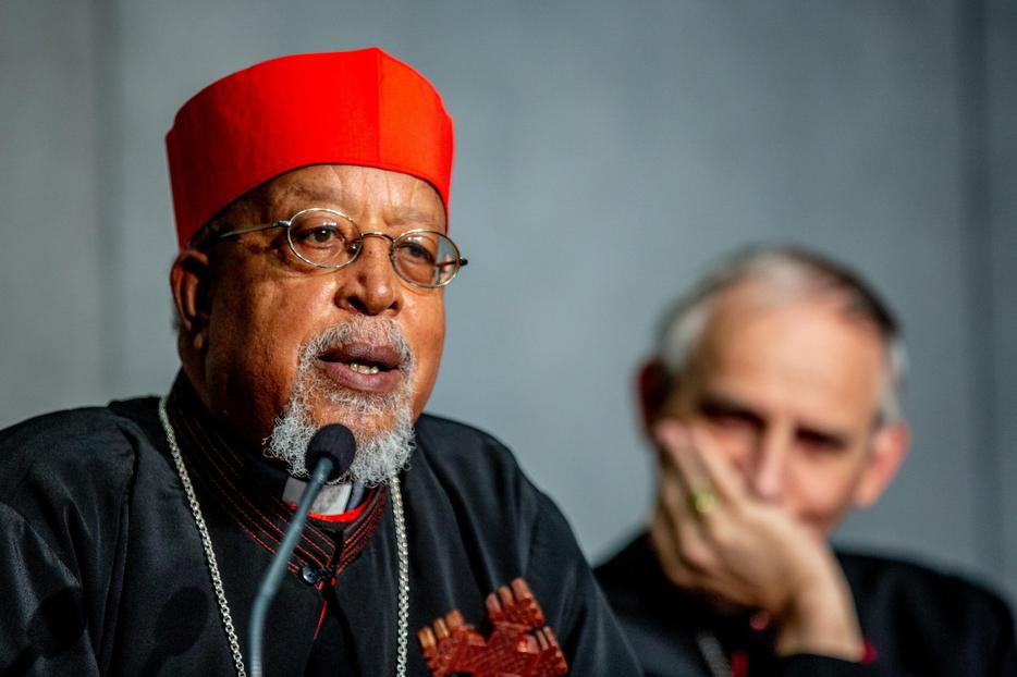 Cardinal Berhaneyesus Demerew Souraphiel of Addis Ababa speaking to reporters at the Vatican, Oct. 18, 2018.