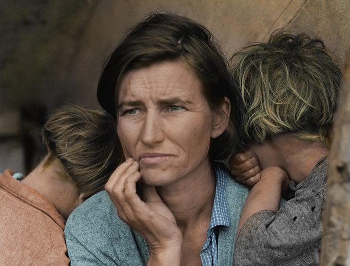 Dorothea Lange, 'Migrant Mother', 1936, colorized, via Pixabay/CC0