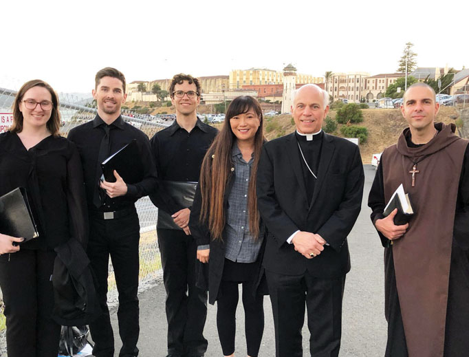 The San Quentin Scola venue kicked off the Benedict XVI Institute's new activities in a major way. Music director Rebekah Wu stands next to San Francisco Archbishop Salvatore Cordileone, along with professional singers who are part of the teaching choir.