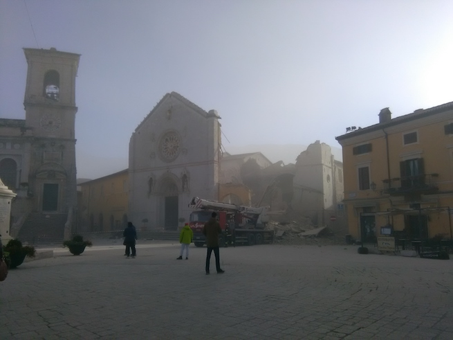 The basilica of St. Benedict, built over the birthplace of the saint, has been flattened in the latest quake leaving just its facade standing.