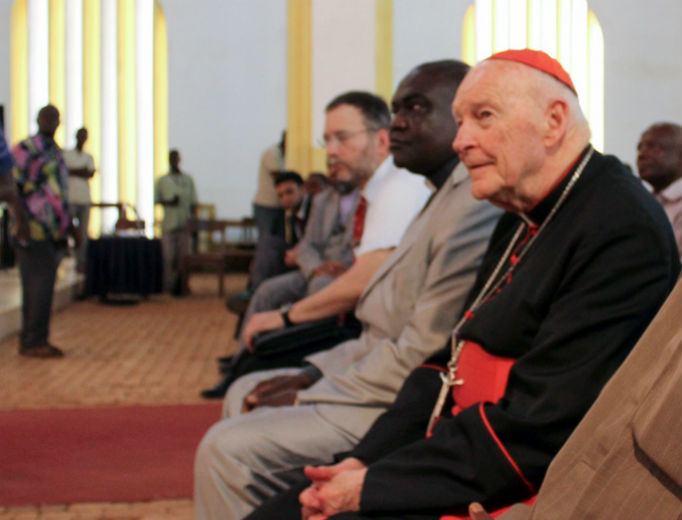 Cardinal Theodore McCarrick attends a meeting in the Central African Republic in 2014