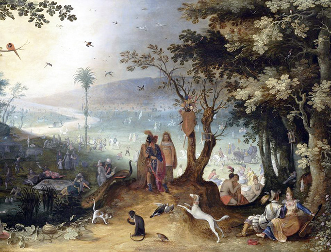 "Sebastiaen Vrancx, ""Aeneas Meeting with His Father in Elysium,"" 1597"