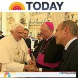 Screenshot of Pope Benedict XVI greeting Matt Lauer from the Today show and Archbishop Timothy Dolan.
