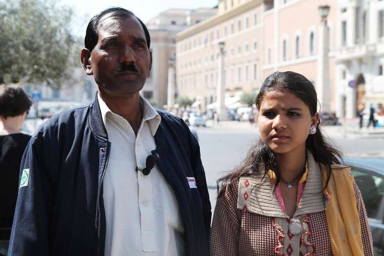 Ashiq Mesih and Eisham Ashiq, Asia Bibi's husband and daughter, speak to CNA in Rome April 15, 2015.