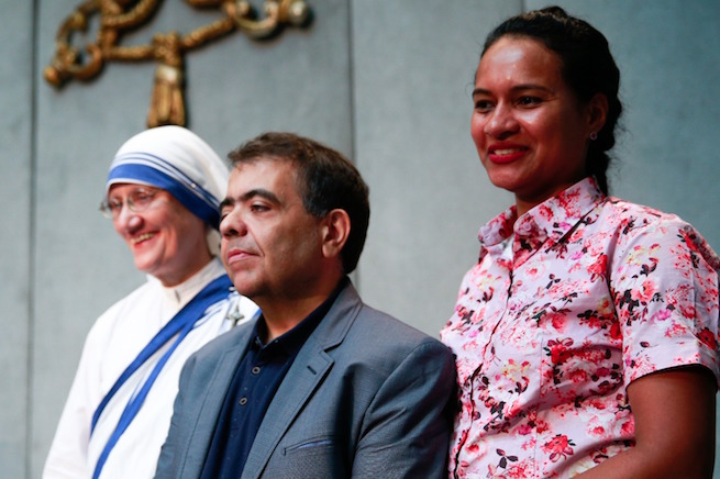 Sister Mary Prema Pierick, superior general of the Missionaries of Charity, Marcilio Haddad Andrino, a Brazilian miraculously healed of multiple brain abscesses due to Mother Teresa's intercession, and his wife Fernanda, at the Vatican, Sept. 2, 2016.