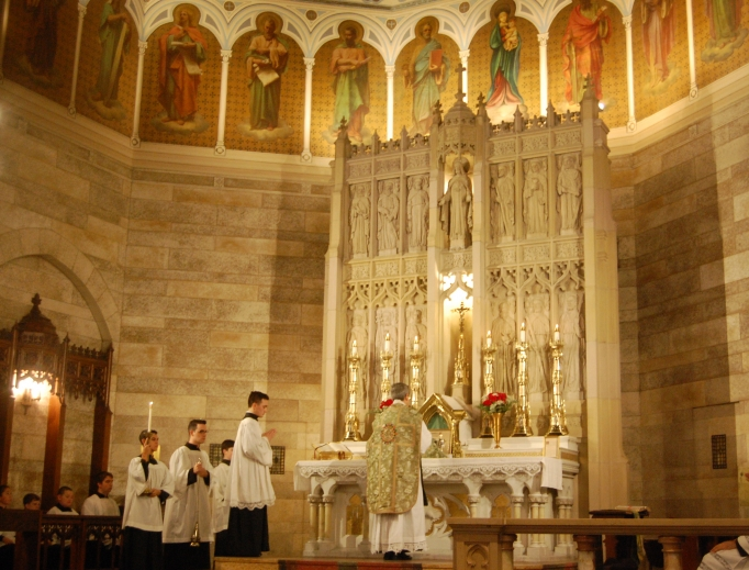 Father John Berg celebrates the traditional Latin Mass at St. Mary's Church on Broadway in Providence, R.I., where the Priestly Fraternity of St. Peter recently assumed leadership.