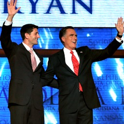 Republican presidential candidate, former Massachusetts Gov. Mitt Romney and vice president candidate Paul Ryan acknowledge the crowd at the Republican National Convention in Tampa, Fla.
