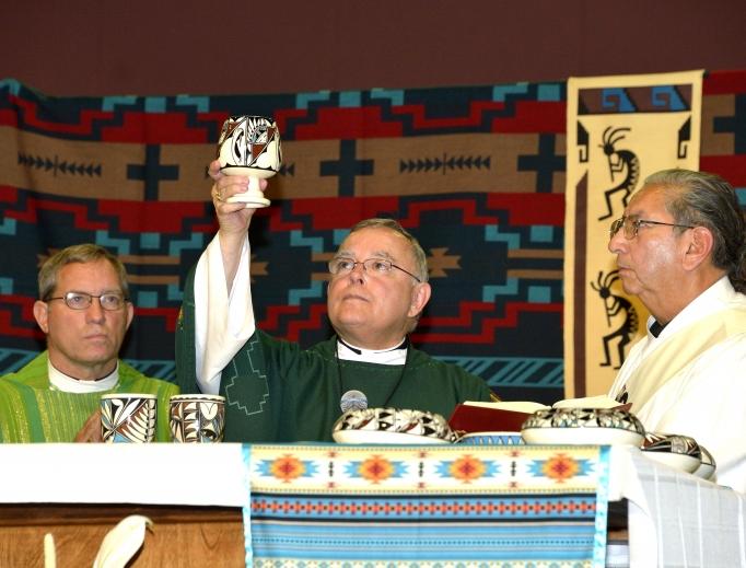 Above, Archbishop Charles Chaput of Philadelphia celebrates Mass at the 2013 Tekakwitha Conference gathering. Below, Murray O'Coin, a Mohawk of the Bear Clan, and lay administrator of the Keristos Ne Korah:Kowah [Christ the King] ordinariate community in Tyendinaga.