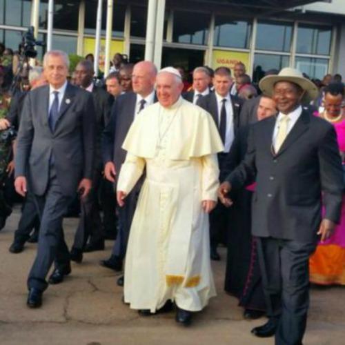 Pope Francis arrives in Uganda.